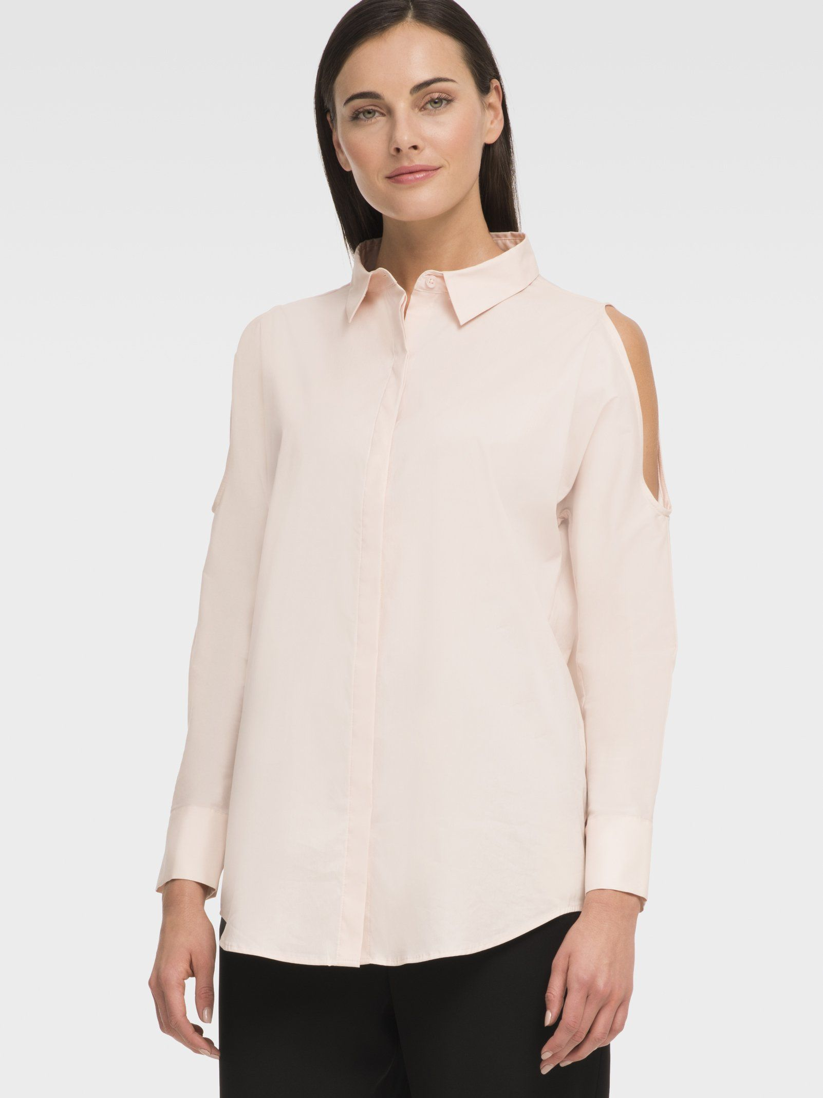 Однотонная блузка прямого кроя с вырезами на плечах от DKNY