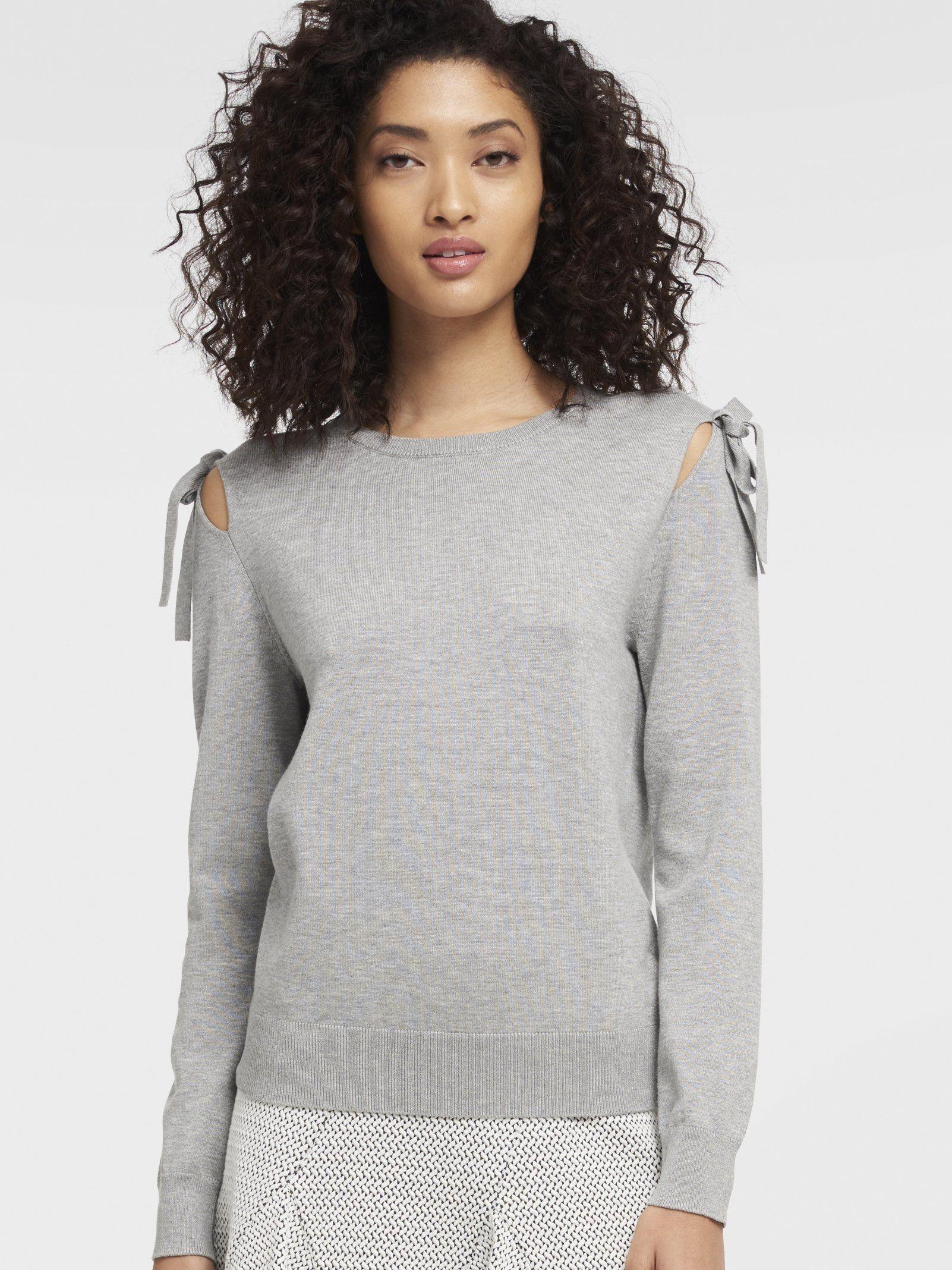 Однотонный джемпер с завязками и вырезами на плечах от DKNY