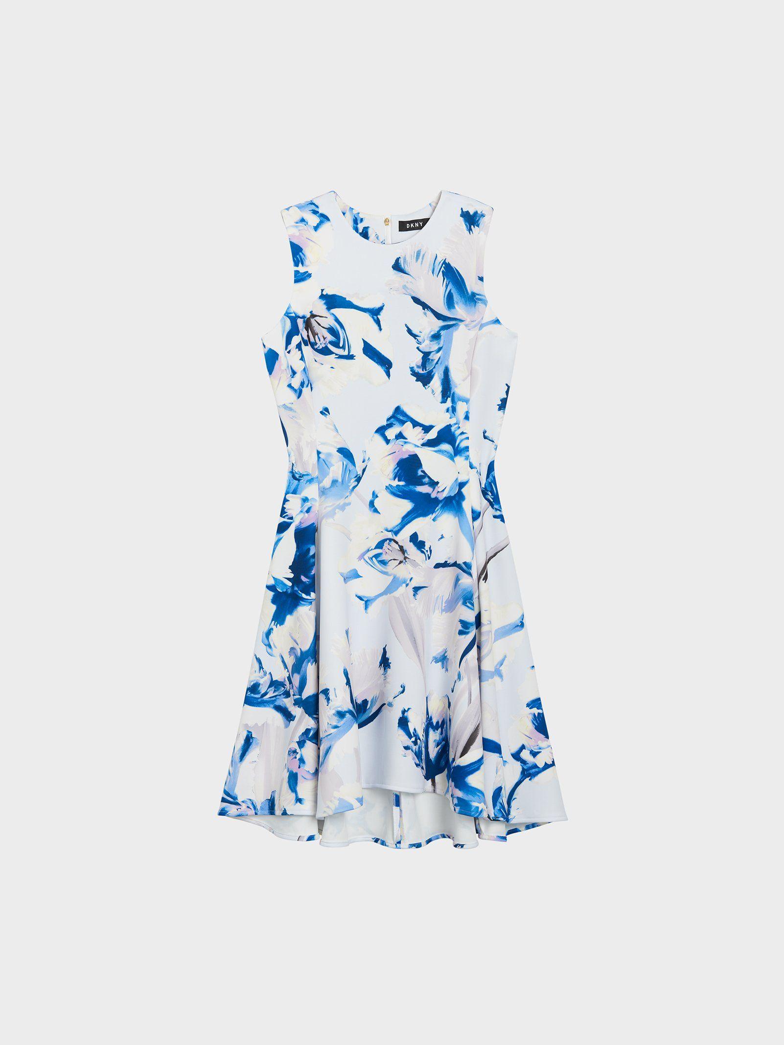 Приталенное платье-миди с цветочным принтом от DKNY